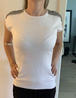 Zara Top básico blanco-color plata