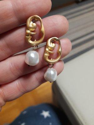 Pendientes de perlas color oro-blanco