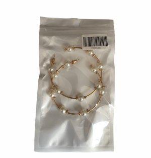 Unbekannte Marke Boucles d'oreilles en perles blanc-doré