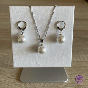 ♈️ Perlenschmuck-Sets 925 Sterling Silber Halskette, Ohrringe und Anhänger