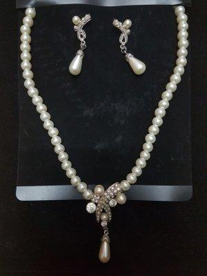 Perlenschmuckset Kette & Ohrringe NEU