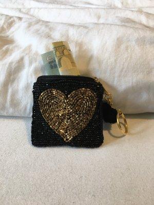Perlentäschchen Geldbeutel Herz Schwarz Gold