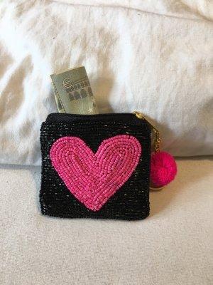 Perlentäschchen Geldbeutel Herz Schwarz Pink
