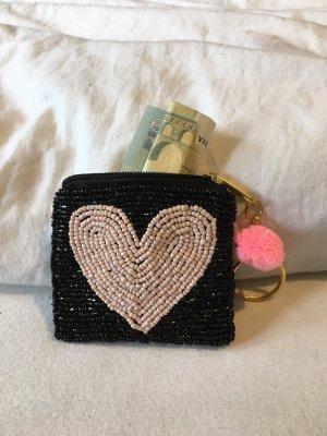 Perlentäschchen Geldbeutel Herz Schwarz Rosé