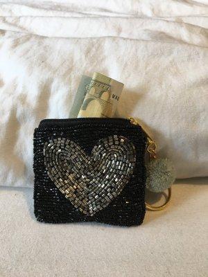 Perlentäschchen Geldbeutel Herz Schwarz Silber