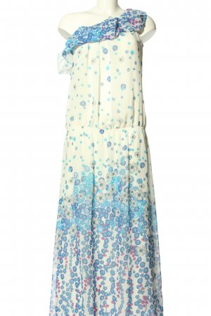 perletti One Shoulder Dress natural white-blue flower pattern casual look