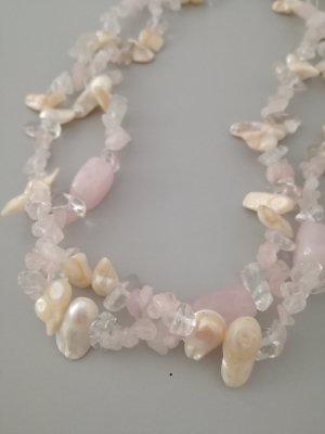 Perlmut-/Bergkristall-/ Rosenquarzkette
