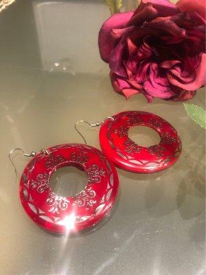 Perlmutt Ohrringe mit Silber Dekor