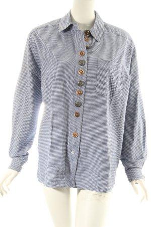 Perry Landhaus Folkloristische hemd staalblauw-wit klassieke stijl