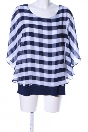 Perseption Concept Oversized Bluse blau-weiß Karomuster Casual-Look