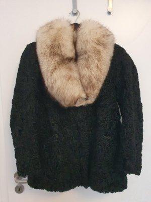 True Vintage Veste en fourrure noir-argenté