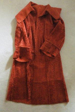 Manteau oversized orange fluo fourrure