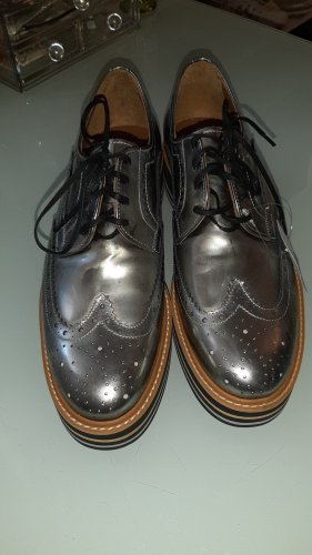 Pertini Wingtip Shoes black-silver-colored