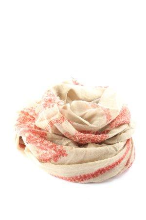 Peruvian Connection Sciarpa di lana crema-rosso Stampa a tema stile casual