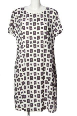 Peserico A-Linien Kleid weiß-lila Allover-Druck Casual-Look