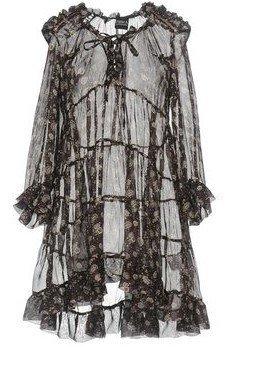 Peter A & Chronicles Robe à volants brun foncé soie