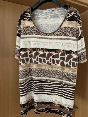 Peter Hahn Camisa tejida marrón oscuro-camel