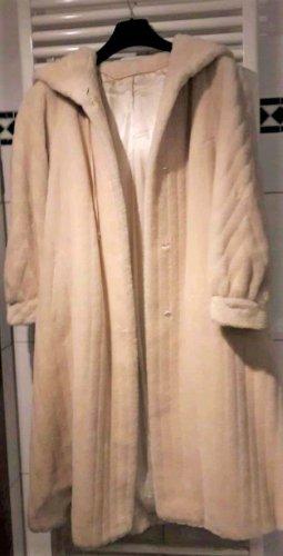 Peter Hahn Cappotto con cappuccio bianco Lana d'alpaca