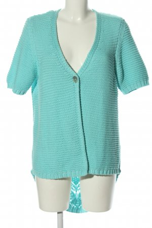 Peter Hahn Crochet Cardigan turquoise cable stitch casual look