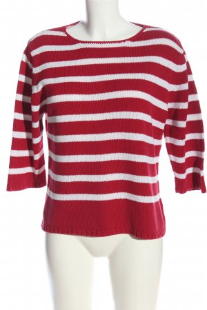 Peter Hahn Crochet Sweater white-red striped pattern casual look