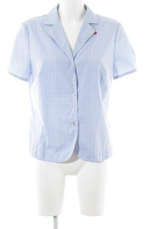 Peter Hahn Kurzarmhemd blau-weiß Allover-Druck Casual-Look