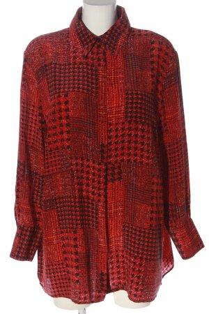 Peter Hahn Camicia a maniche lunghe rosso-nero stampa integrale stile casual