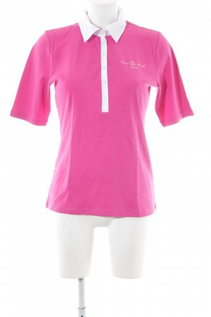Peter Hahn Polo-Shirt pink-weiß Steppmuster Casual-Look