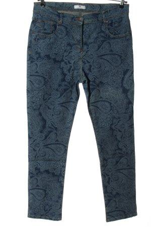 Peter Hahn Jeans a gamba dritta blu-bianco stampa integrale stile casual