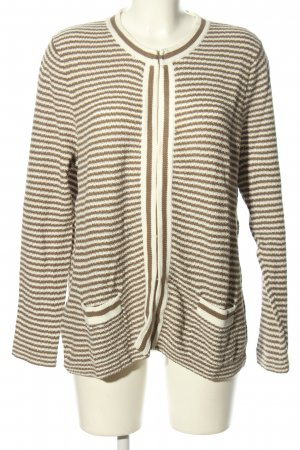 Peter Hahn Cardigan natural white-brown striped pattern casual look