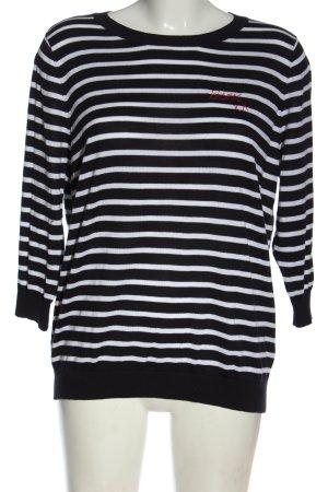 Peter Hahn Maglione lavorato a maglia nero-bianco motivo a righe stile casual