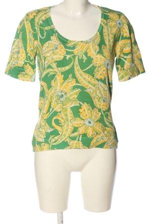 Peter Hahn Camisa tejida verde-amarillo pálido estampado floral look casual