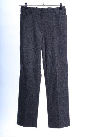 Peter Hahn Pantalone di lana blu-grigio chiaro puntinato stile professionale