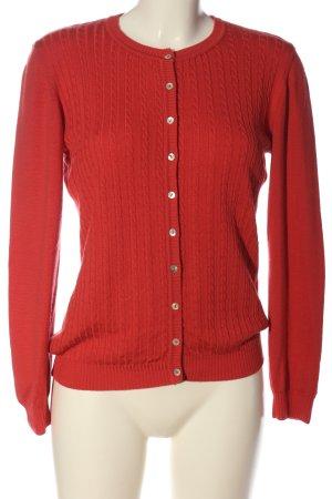 Peter Hahn Wełniany sweter czerwony Warkoczowy wzór W stylu casual