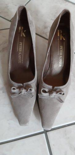 Peter Kaiser Zapatos de punta marrón grisáceo Cuero