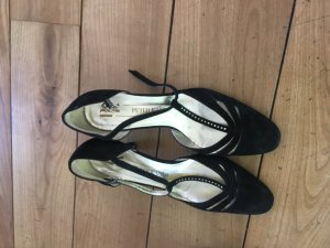Peter Kaiser T-Strap Pumps black-silver-colored leather
