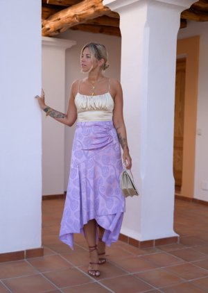 Peter Pilotto Midirock lila Allover-Druck Elegant