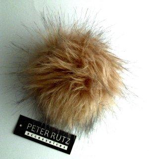 Bonnet à pompon brun sable-brun noir acrylique