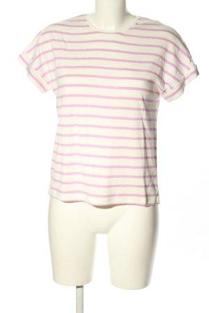 Petit bateau Maglietta a righe bianco-rosa motivo a righe stile casual