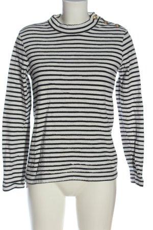 Petit bateau Maglione girocollo bianco-nero motivo a righe stile casual
