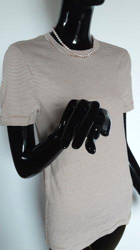Petit Bateau, weiches T Shirt , gestreift braun/weiß Gr.S bis M