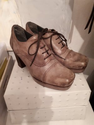Petra Dieler Lace Shoes grey-grey brown leather