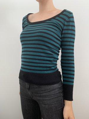 Amisu Kraagloze sweater zwart-petrol