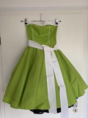 Atelier Belle Couture Petticoatjurk weidegroen-wit Katoen