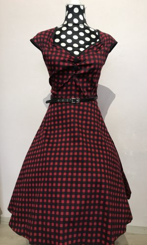 Lady Vintage Petticoat Dress dark red-black cotton