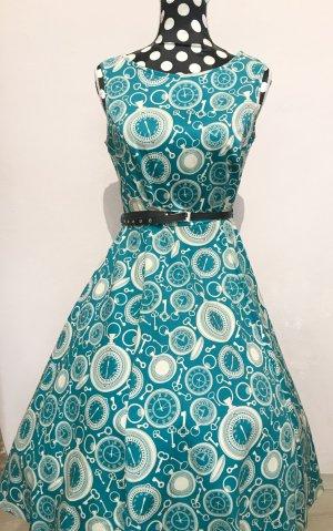 Lady Vintage Petticoat Dress cadet blue-oatmeal
