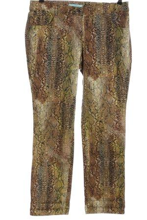 Pfeffinger Pantalon cinq poches brun-kaki motif animal style décontracté