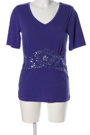 Pfeffinger V-Ausschnitt-Shirt blau Schriftzug gestickt Casual-Look