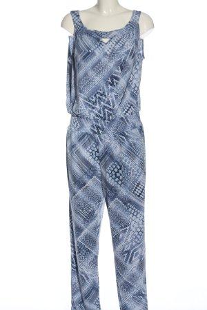 Pfeffinger Langer Jumpsuit blau-weiß Allover-Druck Casual-Look