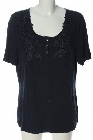 Pfeffinger Strickshirt blau Blumenmuster Casual-Look