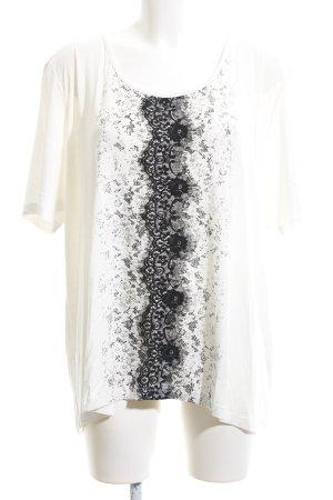 Pfeffinger T-Shirt wollweiß-schwarz abstraktes Muster Casual-Look